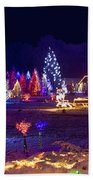 Village In Christmas Lights Panoramic View Beach Towel