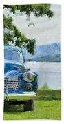 Vintage Blue Caddy At Lake George New York Beach Towel