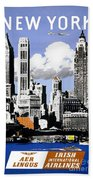 Vintage New York Travel Poster Beach Towel