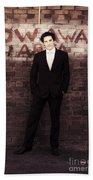 Vintage Salesman Standing In Front Of Brick Wall Beach Towel
