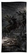 Vintage Santa Stormy Midnight Ride Reindeer Sleigh Beach Towel