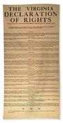 Virginia Constitution, 1776 Beach Towel