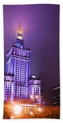 Warsaw Poland Downtown Skyline At Night Beach Towel