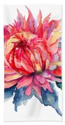 Watercolor Illustration With Beautiful Flowers  Beach Towel