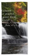 Waterfall With Scripture Beach Towel