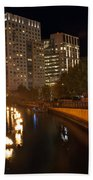Waterfire.  Providence Rhode Island Beach Towel