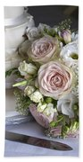 Wedding Bouquet And Cake Beach Towel