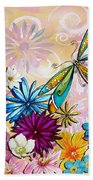 Whimsical Floral Flowers Dragonfly Art Colorful Uplifting Painting By Megan Duncanson Beach Towel