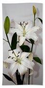 White Lily Spray Beach Towel