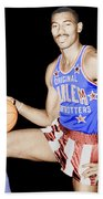Wilt Chamberlain As A Member Of The Harlem Globetrotters  Beach Towel