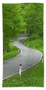 Winding Road In The Woods Beach Towel