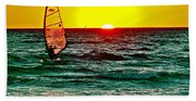 Windsurfer At Sunset On Lake Michigan From Empire-michigan  Beach Towel