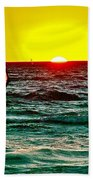 Windsurfer At Sunset On Lake Michigan From Empire-michigan  Beach Towel