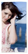 Windy Hair Woman Beach Towel