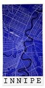 Winnipeg Street Map - Winnipeg Canada Road Map Art On Colored Ba Beach Towel