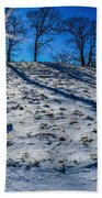 Winter Scinery In The Mountains With Bllue Sky And Sunshine Beach Towel