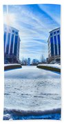 Winter Street Scenes Around Piedmont Town Centre Charlotte Nc Beach Towel