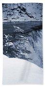 Winter Waterfall Snow Beach Towel