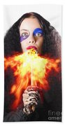 Woman Breathing Fire From Mouth Beach Towel