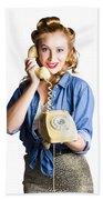 Woman With Retro Telephone Beach Towel