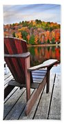 Wooden Dock On Autumn Lake Beach Towel by Elena Elisseeva