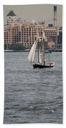 Wooden Ship On The Water Beach Towel