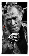 Writer Charles Bukowski On Tv Show Apostrophes In September 1978-2013 Beach Towel