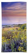 Yellow Flowers At The Sea Beach Towel