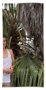 Young Couple Palm Tree Beach Towel