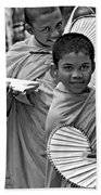 Young Monks Bw Beach Towel