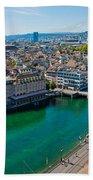 Zurich From The Grossmunster Beach Towel