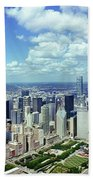 Aerial View Of A City, Chicago, Cook Beach Towel