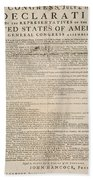 Declaration Of Independence Beach Towel