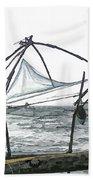 Fishing Nets On The Sea Coast In Alleppey Beach Towel