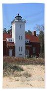 Lighthouse - 40 Mile Point Michigan Beach Towel