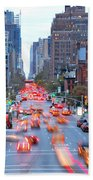 10th Avenue Rush Hour Beach Towel