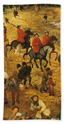 Ascent To Calvary, By Pieter Bruegel Beach Towel