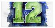12th Man Seahawks Art Seattle Go Hawks Beach Towel