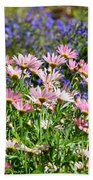 Background Of Colorful Flowers Beach Towel