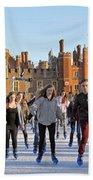 Ice Skating At Hampton Court Palace Ice Rink England Uk Beach Towel