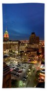 High Angle View Of Buildings Lit Beach Towel