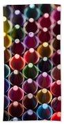 Rows Of Multicolored Crayons  Beach Towel