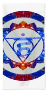 16 Lotus Petals Vishuddha Abstract Chakra Art By Omaste Witkowsk Beach Towel