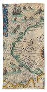 1601 De Bry And De Veer Map Of Nova Zembla And The Northeast Passage Beach Towel
