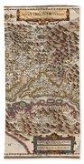1630 Hondius Map Of Virginia And The Chesapeake Beach Towel by Paul Fearn