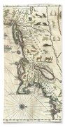 1635 Blaeu Map Of New England And New York Beach Towel by Paul Fearn