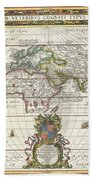 1650 Jansson Map Of The Ancient World Beach Sheet