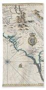 1676 John Speed Map Of Carolina Beach Towel by Paul Fearn