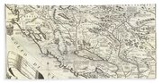 1690 Coronelli Map Of Montenegro Beach Towel