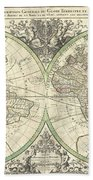 1691 Sanson Map Of The World On Hemisphere Projection Beach Towel